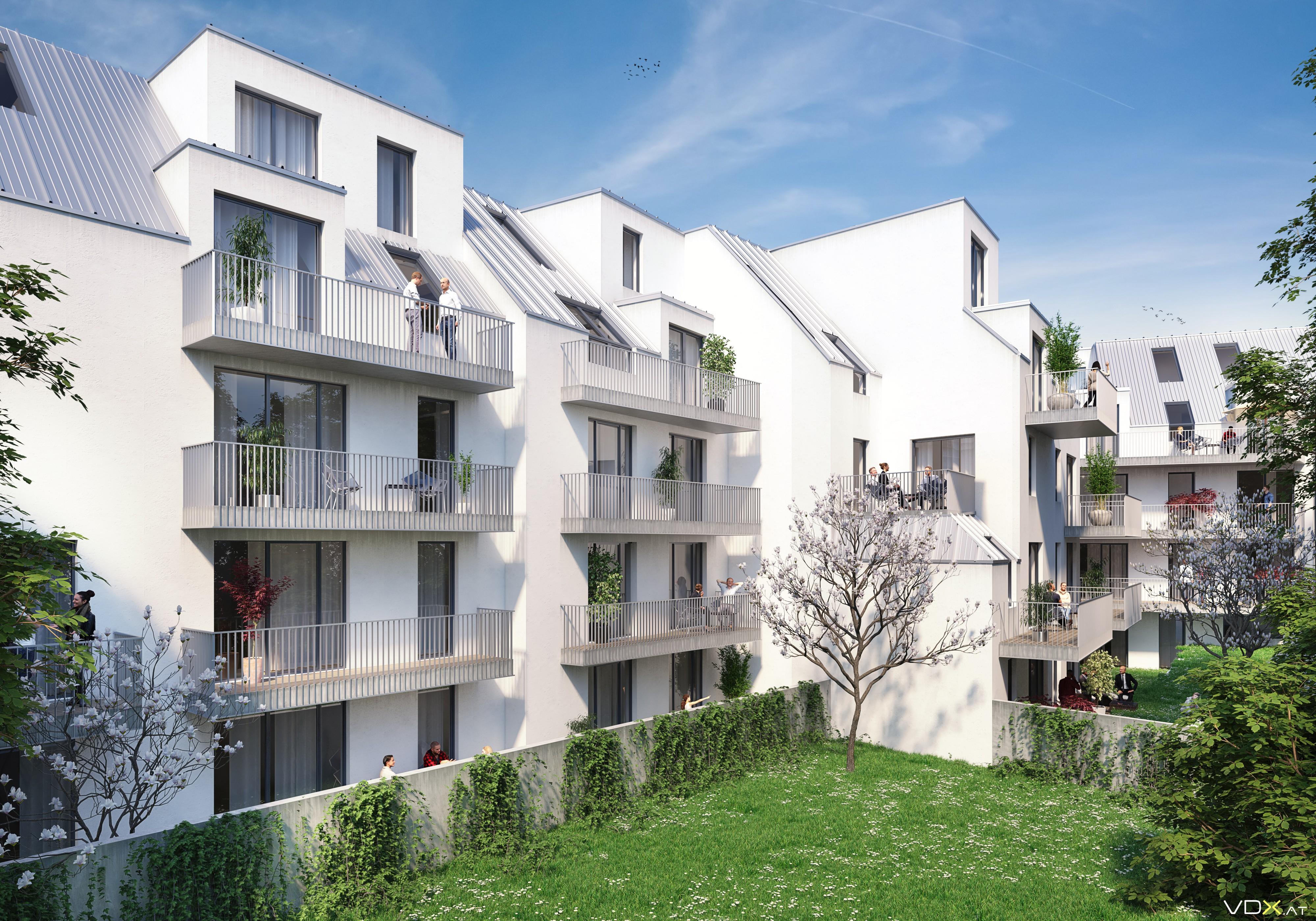 © RUNSER / PRANTL architekten, Niedrigstenergie Wohnhausanlage St.Pölten, 3100 St.Pölten, Linzer Strasse, Niederösterreich, Österreich, 2017, Niedrigstenergie Wohnhausanlage, Render: VDX <p>