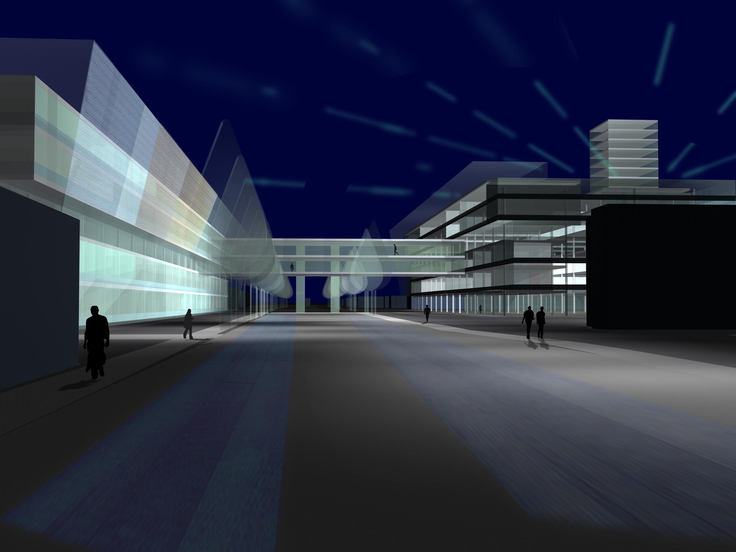 <p>© RUNSER / PRANTL architekten, Harter Plateau Leonding Umgestaltung, 4060 Leonding, Oberösterreich, Österreich, Wettbewerb, 2003, Kaufpark, Bürohaus, Wohnhausanlage</p>