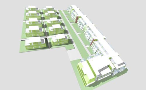 <p>© RUNSER / PRANTL architekten, Passiv Wohnhausanlage - Neue Siedlerbewegung, 1220 Wien, Österreich, Bauträgerwettbewerb, 2006, Passiv Wohnhausanlage</p>